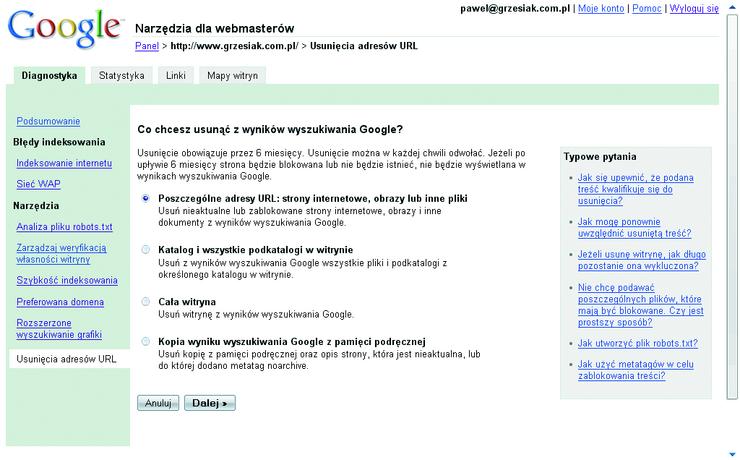 Google Sitemaps - Indeksowanie