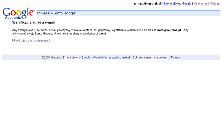 Na podany adres e mail dostajemy wiadomość od google aby